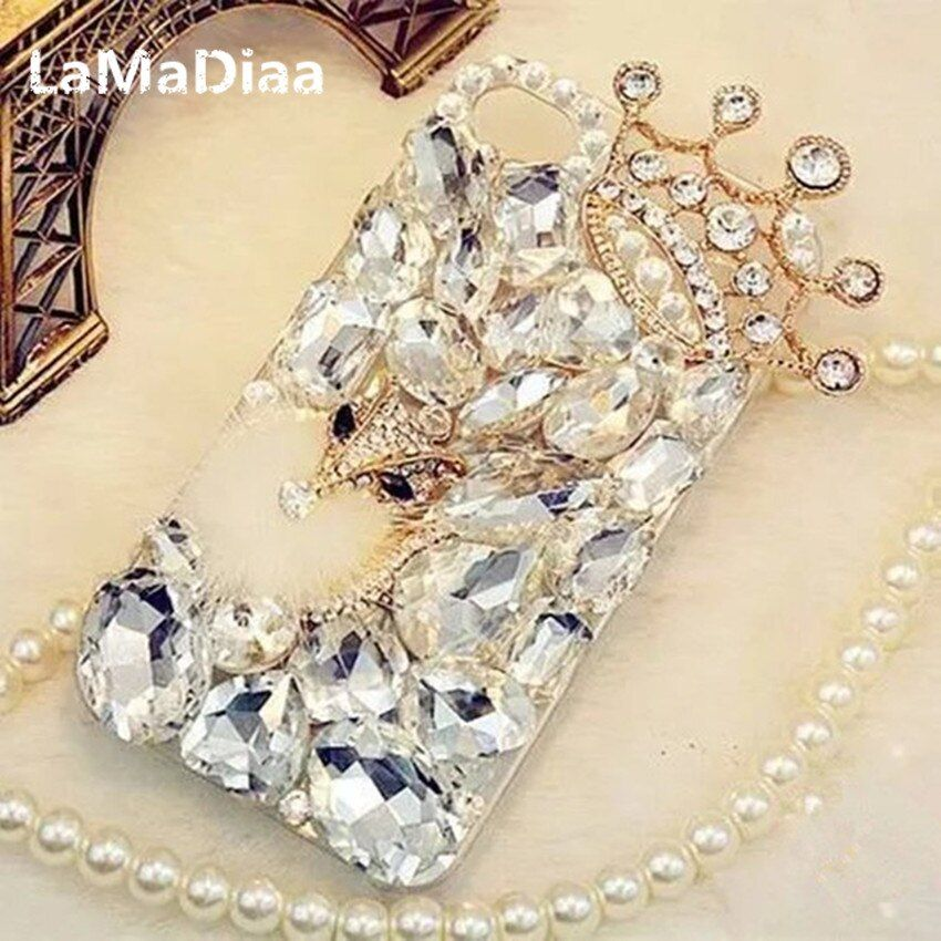 LaMaDiaa Bling Rhinestone Crystal Diamond Fox and Crown Soft Back Phone Case Cover For iPhone X 7 8 Plus 6 6s Plus 5 5S SE 5C