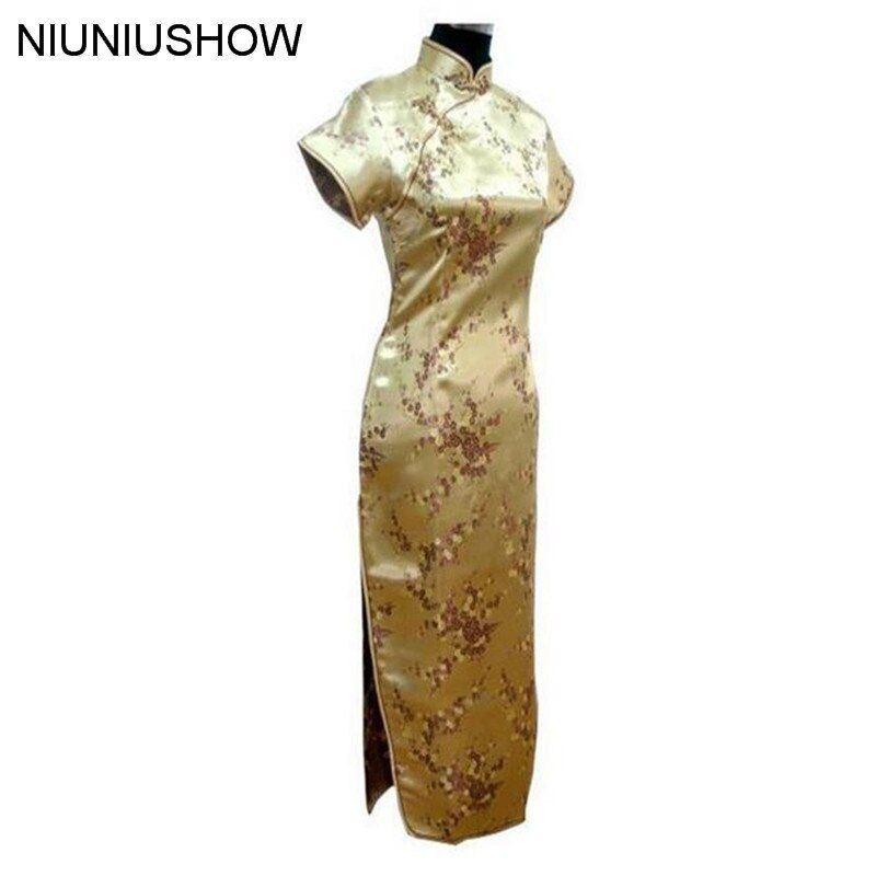 Or Traditionnel Chinois Robe Femmes Satin Long Cheongsam Qipao Vêtements Plus Taille S M L XL XXL XXXL 4XL 5XL 6XL J3081