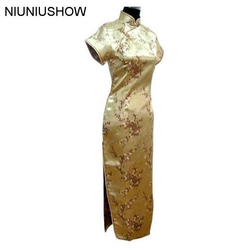 Or Traditionnel Chinois Robe Femmes Satin Long Cheongsam Qipao Vêtements Plus taille S M L XL XXL XXXL 4XL 5XL 6XL J3081