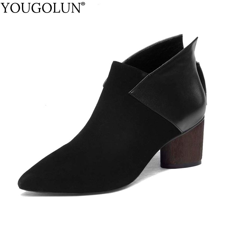 YOUGOLUN Women Ankle Boots Cow Suede Leather Spring Autumn Ladies Thick Heel High Heels Black Wine red Pointed toe Shoes #Y-004