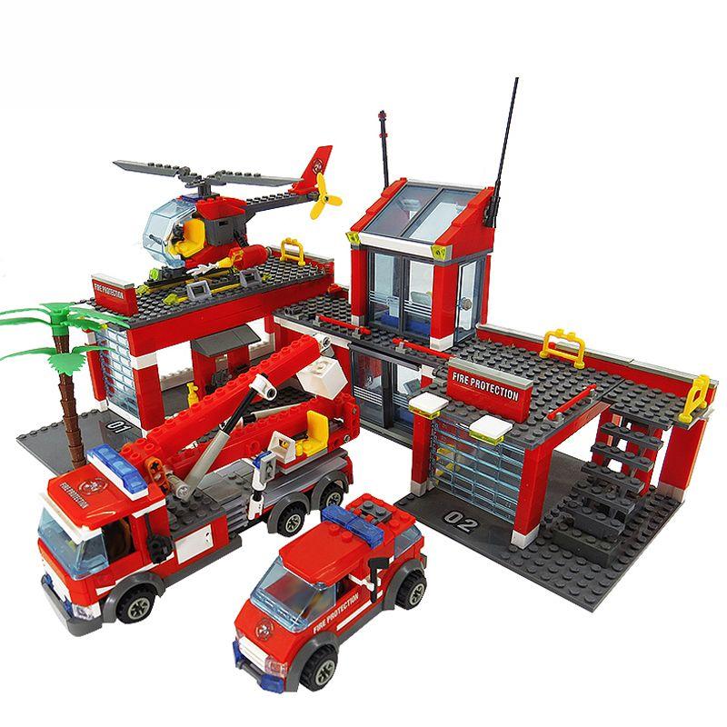8051 blocs de modèle de caserne de pompiers compatibles blocs de construction de ville LegoINGlys briques à monter soi-même en plastique jouets éducatifs pour enfants cadeau