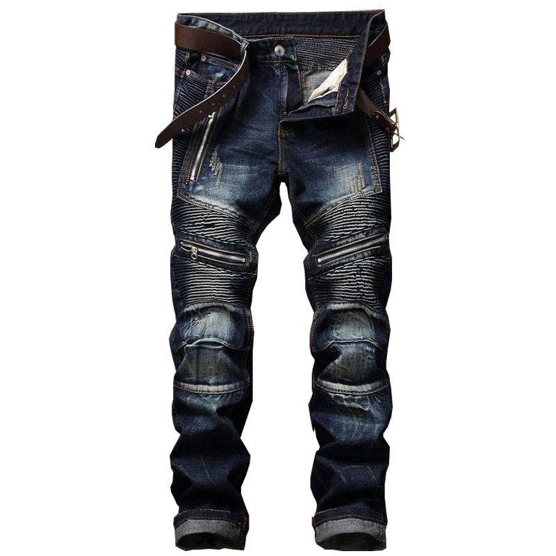 2017 neue Dropshipping Blau Biker Männer Jeans Zerrissene Slim Fit Hip Hop Denim herren Jeans Hoher Qualität Motorrad Hosen Punk Homme