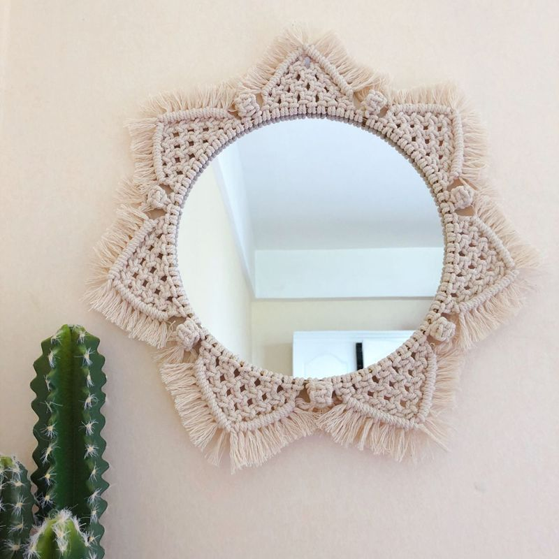 Macrame Tapestry Wall Hanging Decorations Dyed Bohemia Handcraft Tassel Tapestry Background wall farmhouse decor