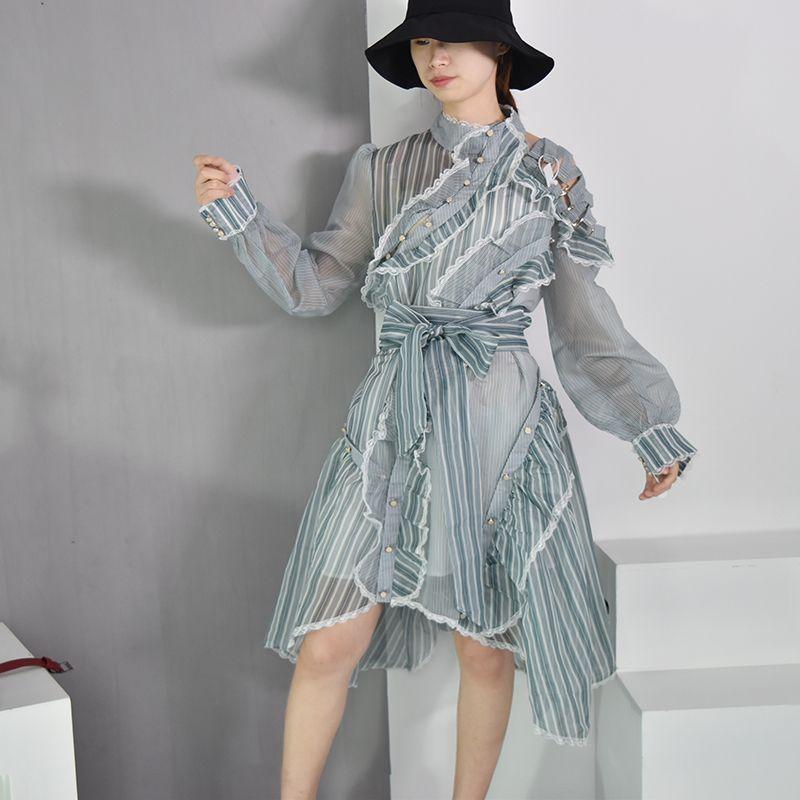 [EAM] 2018 Autumn Summer New Fashion Stand Collar Button Ruffles Sashes Long Sleeve Casual Loose Stripedwomen Dress RA342