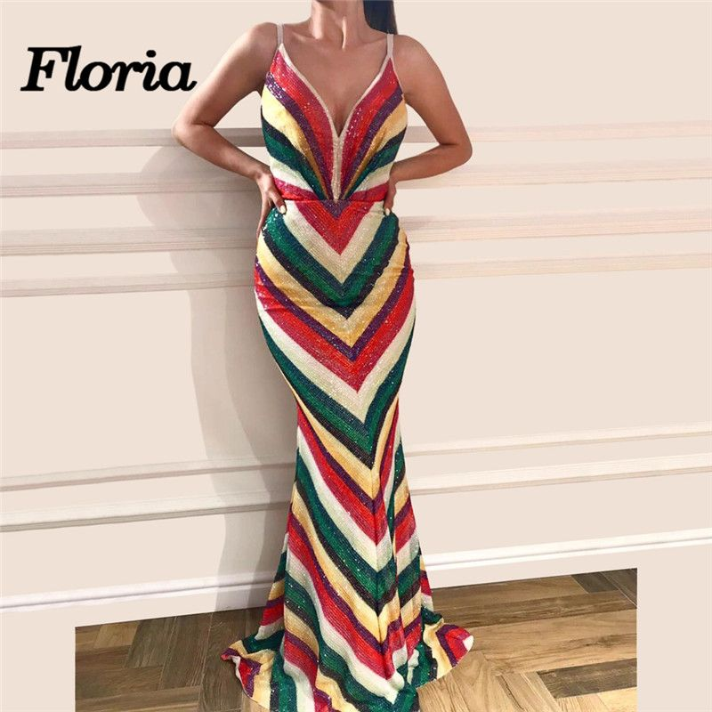 African Rainbow Evening Dresses For Weddings Arabic Dubai Muslim Long Formal Prom Dress Mermaid Party Gowns Robe de soiree 2018