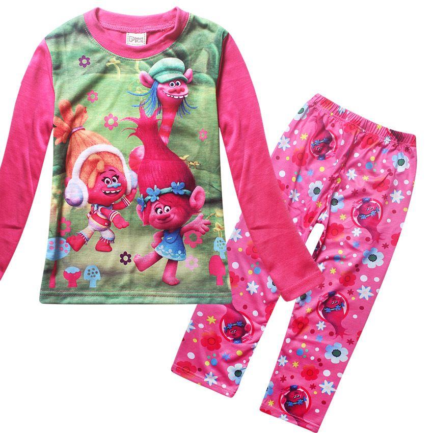 2018 Nouvelles Années Coton 4-12 Ans Pyjamas Enfants Trolls Pyjamas Pyjamas de vêtements de Nuit De Noël Enfants Enfants Vêtements Ensembles T1138