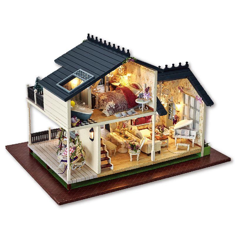 Diy Poupée Maison PROVENCE Miniature Modèle de Bâtiment En Bois Dollhouse Meubles Modèle Jouets Pour Enfants Brithday Cadeau