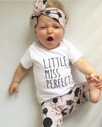 Summer infant baby girl clothes cotton letters printed t-shirt + pants + headband toddler 3pcs outfit newborn baby girl clothing