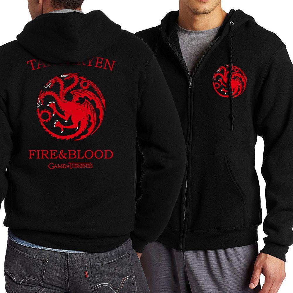 Game of Thrones Zipper Dragon Wolf Cool Printing Zipper Hoodies Hoodie Man Fleece Warm Spring Autumn Tracksuit Casual Sportswear
