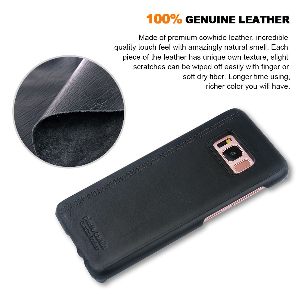 Original Pierre Cardin for Samsung Galaxy S8 / S8 Plus Cases Genuine Leather Slim Shell Case Hard Luxury Brand for Galaxy 8 Case