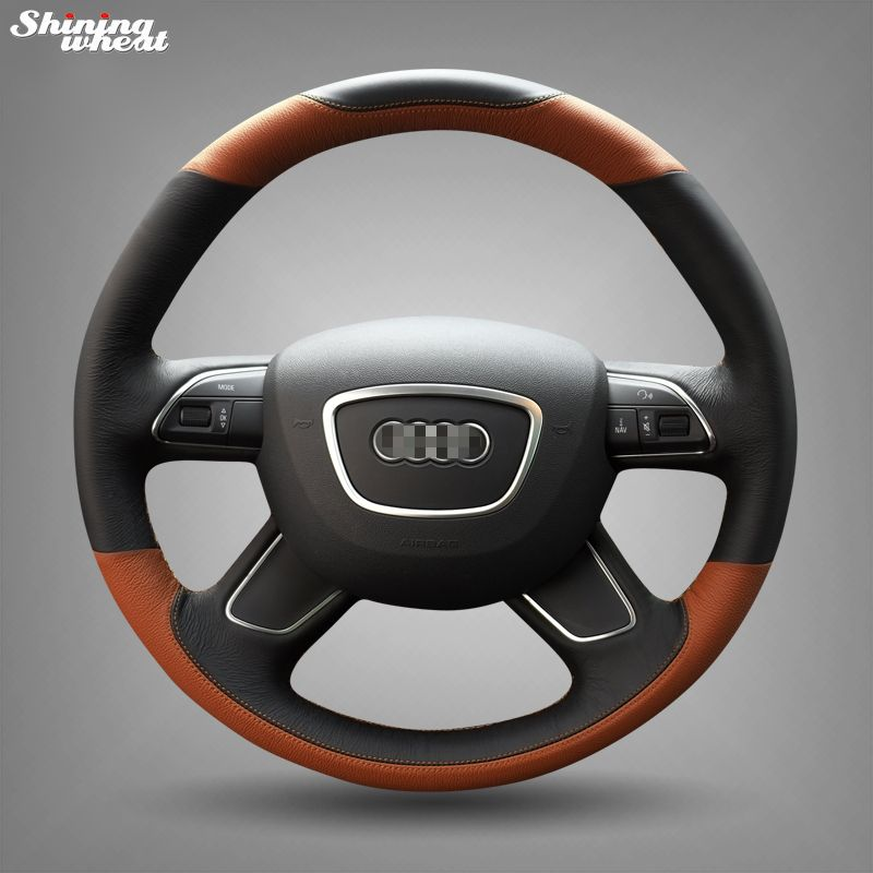 Shining wheat Hand-stitched Black brown Leather Steering Wheel Cover for Audi A3 (8V) A4 (B8) A6 (C7) A8 (D4) Q3 Q5 Q7