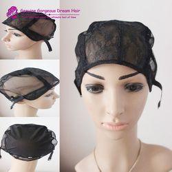 Black Small/Medium/Large JewishWig Caps For Making Wigs 5pcs Per LotGlueless Wig Caps Adjustable Strap On the Back