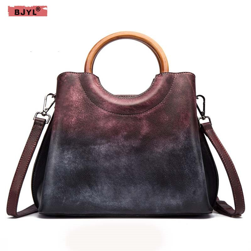 BJYL Genuine Leather handbags women handmade first layer leather handbag retro trend ladies Shoulder Bags Messenger totel bag