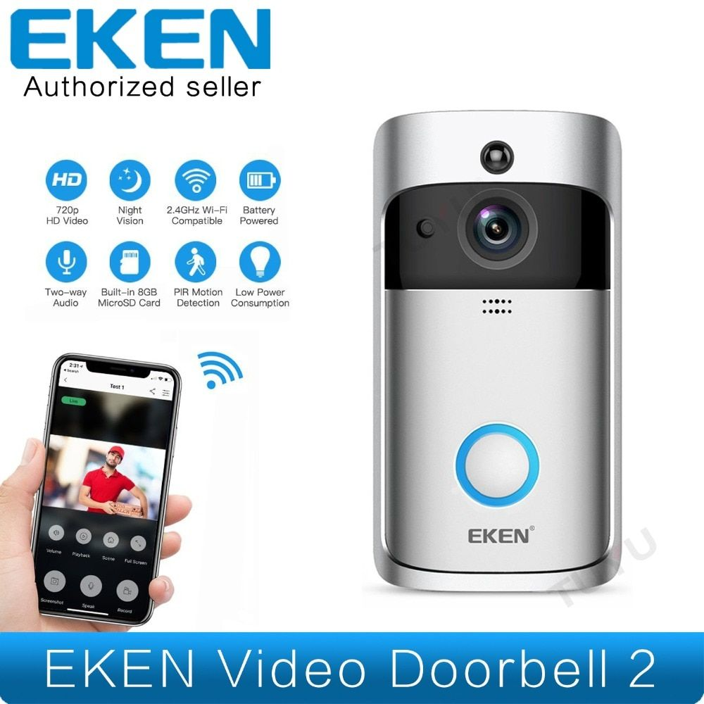 EKEN Smart Video Doorbell 2 Real-Time 720P HD Video Wifi Camera Two-Way Audio Night Vision App Control V2 Wi-Fi Enabled Doorbell