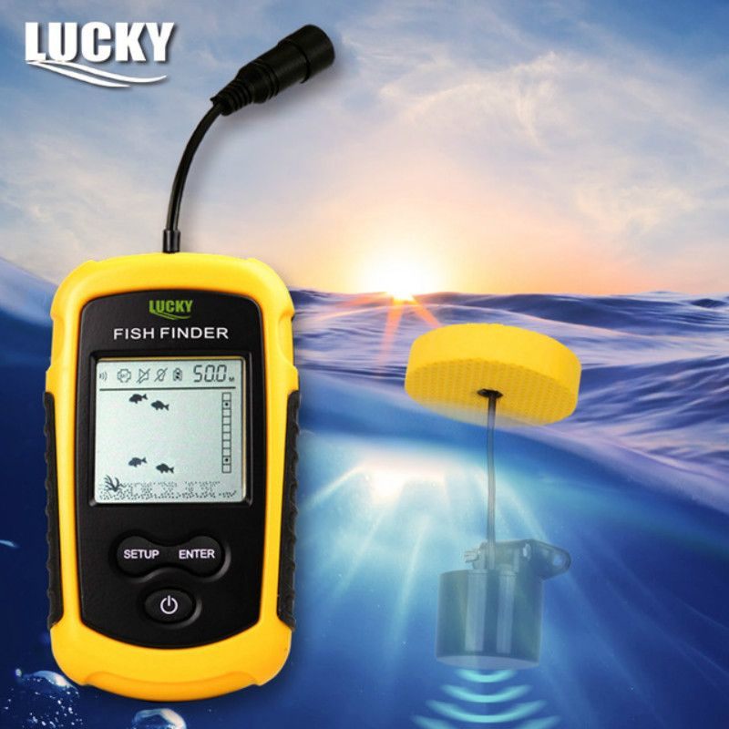 Lucky FF1108-1 Portable Sonar Alarm Fish Finder Echo Sounder 0.7-100M <font><b>Transducer</b></font> Sensor Depth Finder with Russian manual #B3