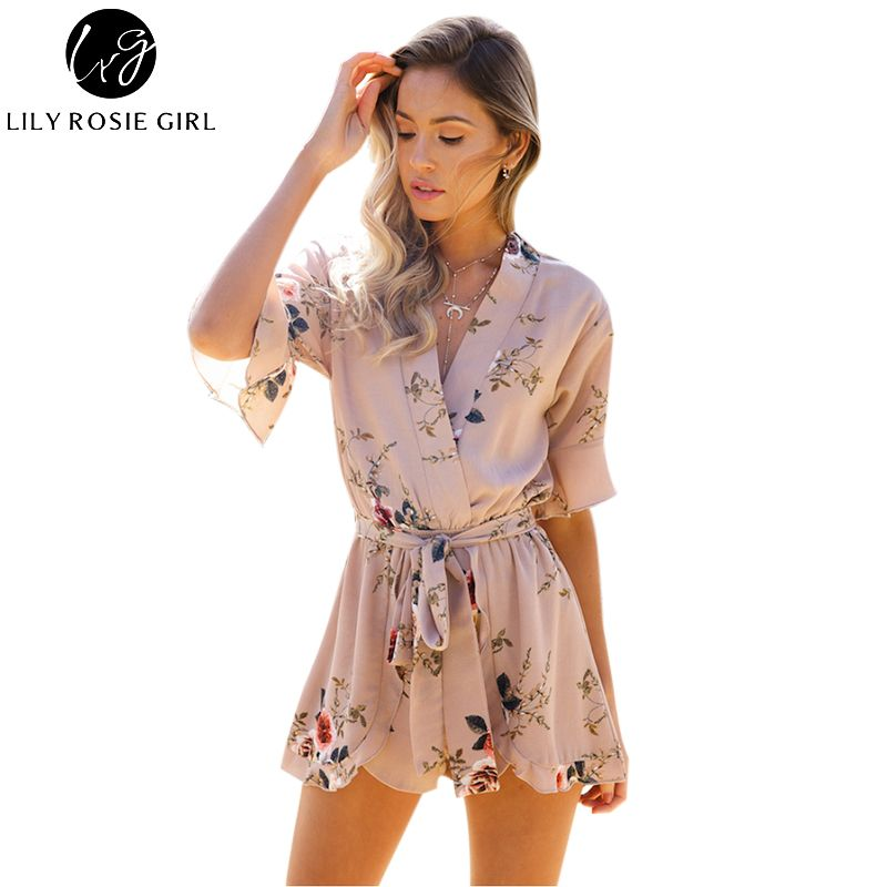 Boho Red Floral Print Ruffles Playsuits Women Elegant Autumn White V Neck Jumpsuits Rompers Sexy Beach Girls Short Overalls