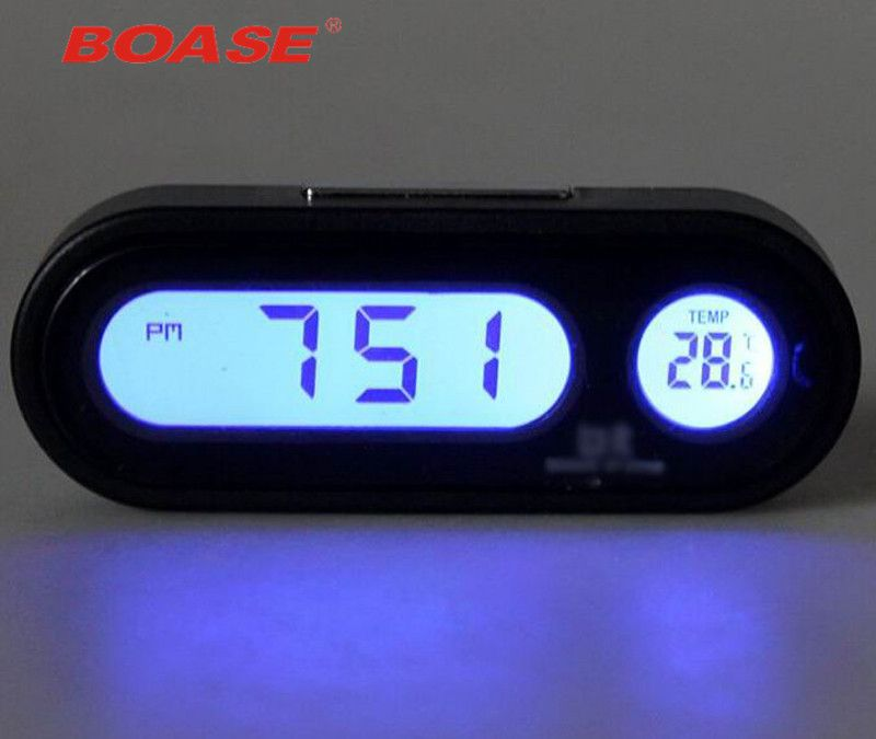 Good Quality Fashion Car Clock Auto Vehicle Mini Backlight Vute Thermometer Clock Time Car Electronic Watch