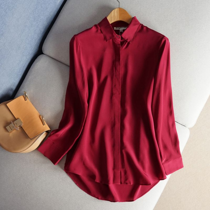 Basic silk shirts, long silk, crepe de Chine shirts, long sleeves, simple, slim, pure silk silk tops.