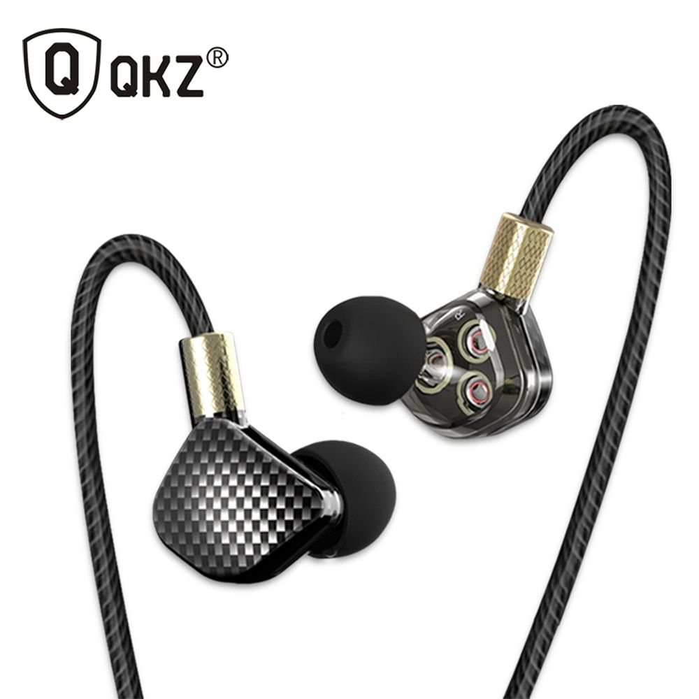 Original Earphone QKZ KD6 3 Dynamic Driver System Speakers HIFI Bass Subwoofer In Ear Earphone Stereo Sports Earphone Headset