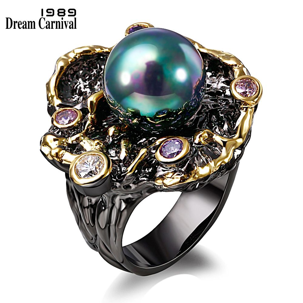 Dreamcarnival1989 élégant unique vintage anneau pour les femmes synthétique cubique zircon lunette bague noir or-couleur taille 6 à 9 anillos