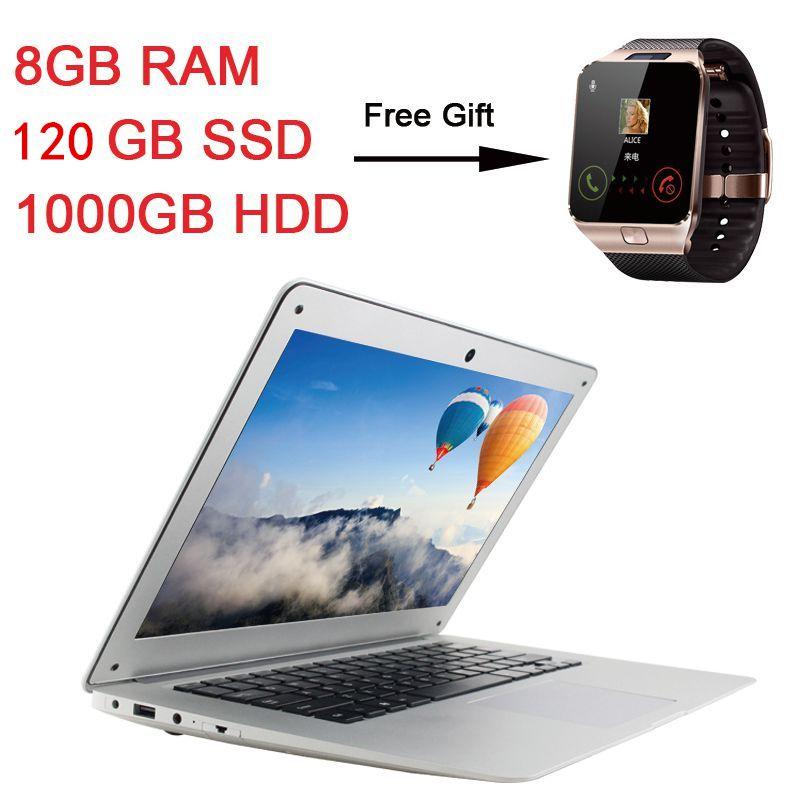 Ultra-mince quad core windows10 système 8 gb ram 120 gb ssd 1000 gb hdd ordinateur portable ordinateur portable