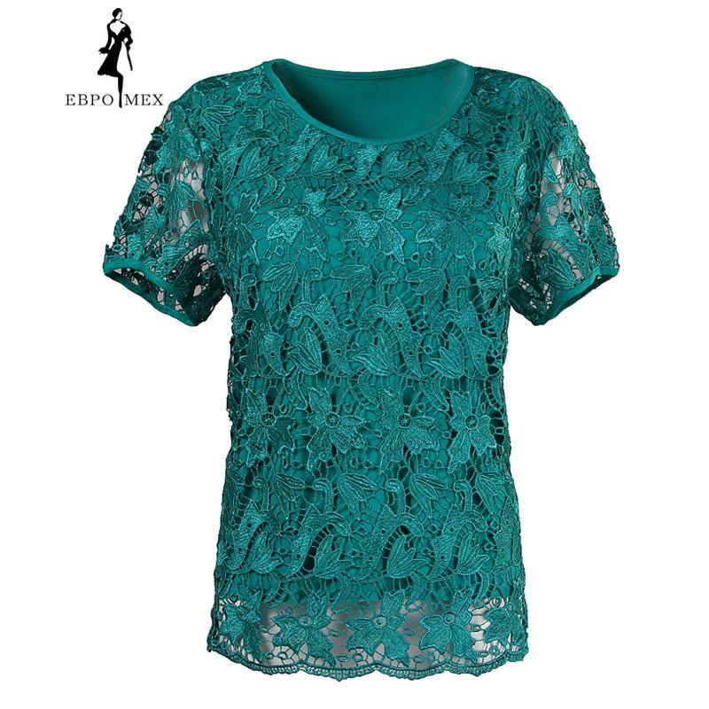 Dentelle femme été grands chantiers manches courtes t-shirt de mode de style plus engrais hauts élastique coton t-shirt femme
