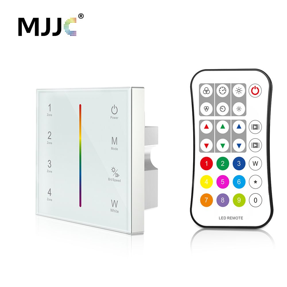 MJJC DMX Controller 512 4CH Zone RGBW DMX512 Master Control Wireless 2.4G RF Remote Wall Mounted Touch Panel Controller T14-1