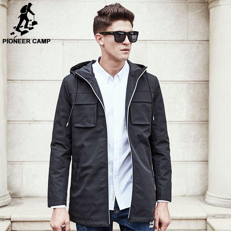 Pioneer Camp 2018 Neue Trenchcoat Männer marke kleidung qualität Trenchcoat männlichen Kleidung Lang schwarz grau Jacken & Mäntel 611312