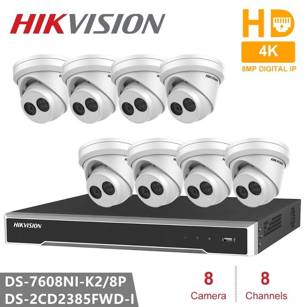 Hikvision DS-7608NI-K2/8 P Embedded Plug & Play 4K NVR + 8PCS DS-2CD2385FWD-I Netzwerk Revolver CCTV Sicherheit kamera POE 8MP IP Cam
