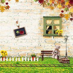 Kids Photo Backdrops Vinyl Wood Brick Wall Green Glass with Bear Laying Newborn Photo Background for Photo Studio Fotografia