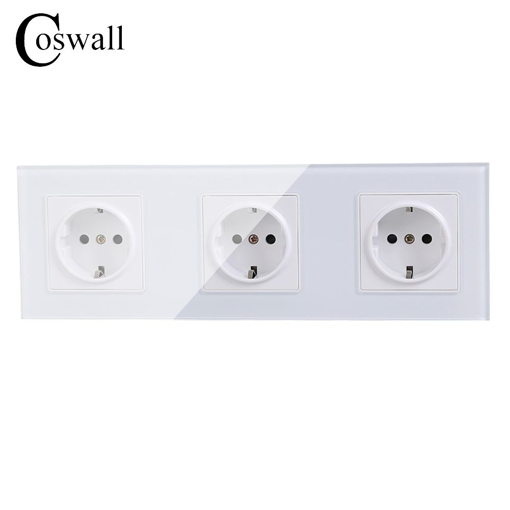 COSWALL Wall Crystal Glass Panel 3 Way Power Socket Plug Grounded, 16A EU Standard Electrical Triple Outlet 258mm * 86mm