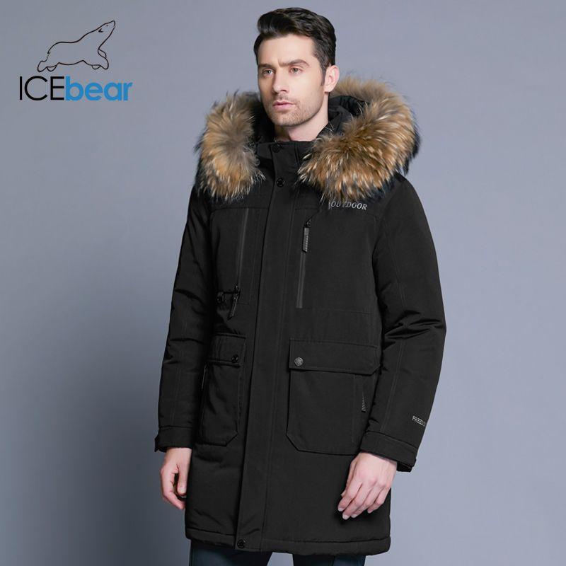 ICEbear 2018 neue winter männer unten jacke hohe qualität abnehmbare hut männlichen der jacken dicke warme pelz kragen kleidung MWY18963D