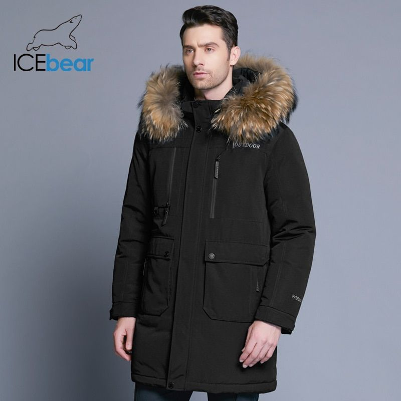 ICEbear 2018 new winter men's down jacket high quality detachable hat male's jackets thick warm fur collar clothing MWY18963D