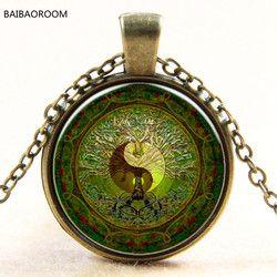 Grün mandala zeit edelstein von yin und yang anhänger halskette silber halskette für Europa neue