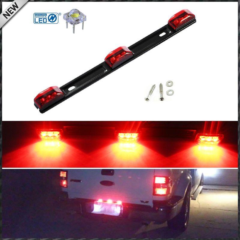 (1) Red 3-Lamp Truck/Trailer ID LED Light Bar For Ford F150 F250 F350 Dodge RAM 1500 2500 3500 Chevy Silverado, GMC Sierra, etc