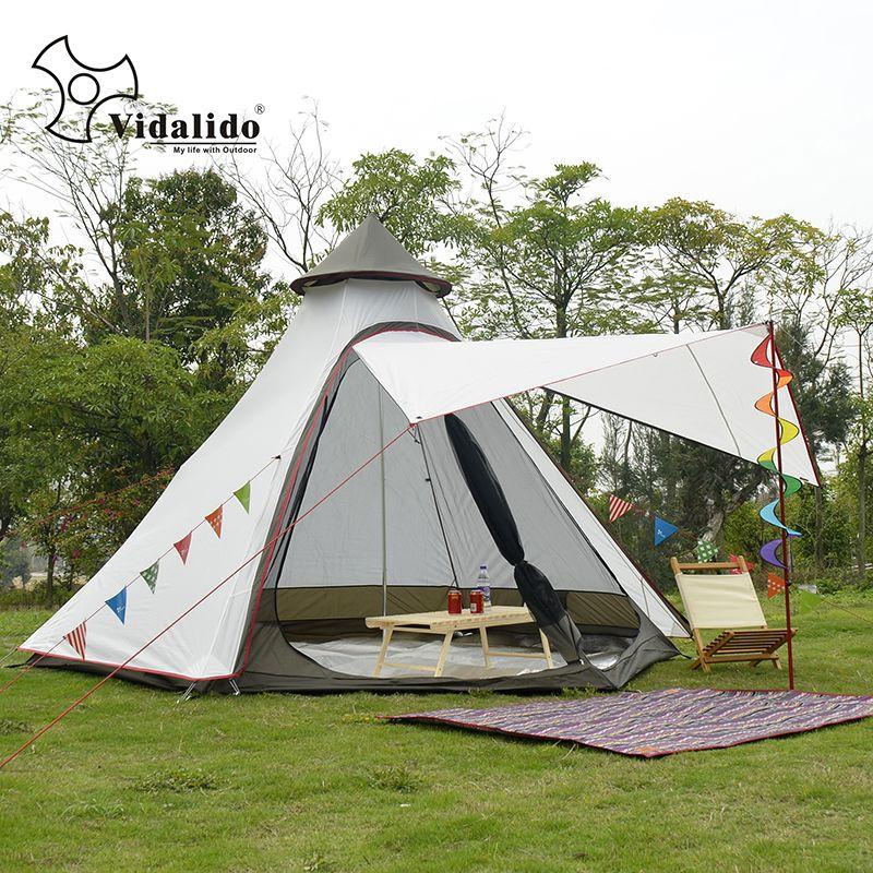 Neue Ankunft 3-4 Person Verwenden Ulterlarge Ultraleicht Aluminium Pole Wasserdichte Tipi Zelt Große Pavillon Sun Shelter