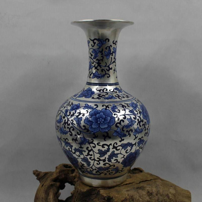 Kreative Neue Klassischen postmodernen Silber Vase Blauen und Weißen Porzellan Lotus Blume Vase Für Heimtextilien