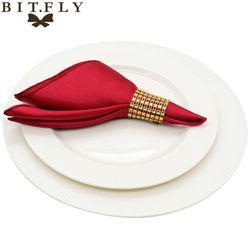 50 pcs 30 cm Serviettes De Table En tissu Carré Satin Tissu Serviette Mouchoir de Poche pour Mariage anniversaire accueil parti Hôtel or blanc