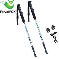 2 unids/lote bastones nórdicos antichoque bastones telescópicos de senderismo bastones ultraligeros para caminar con protectores de puntas de goma