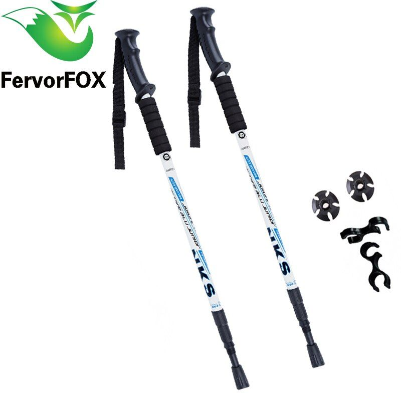 2Pcs/lot Anti Shock Nordic Walking Sticks <font><b>Telescopic</b></font> Trekking Hiking Poles Ultralight Walking Canes With Rubber Tips Protectors