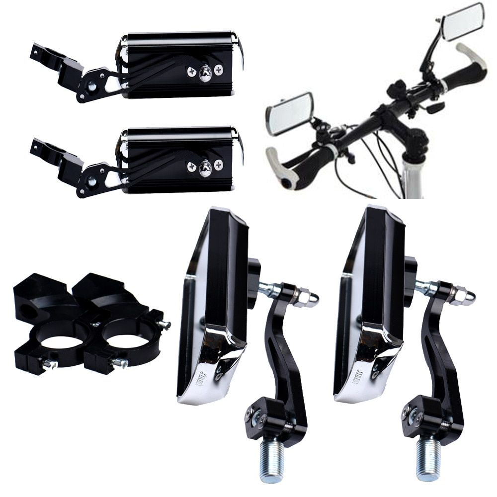1 <font><b>Pair</b></font> High quality Aluminum Bike Mirror Mountain Bicycle Rearview Handlebar End Rear Back View cool 360 ROTATE with 2 Bases