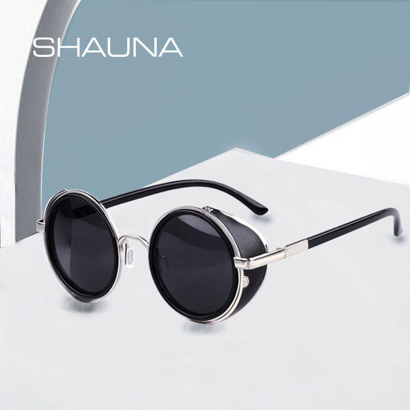 SHAUNA Vintage femmes Steampunk rétro revêtement hommes rond lunettes de soleil marque Designer Punk lunettes de soleil UV400