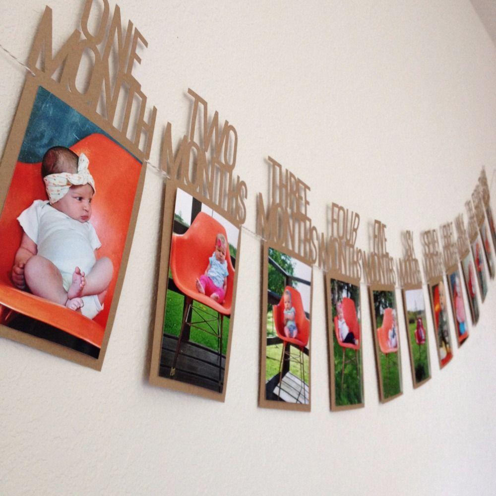 DIY album Mensuel Papier 1er Un An Photo Booth Fête D'anniversaire Bannière Bébé photos montrent bébé photo album Décoration de Fête fournitures