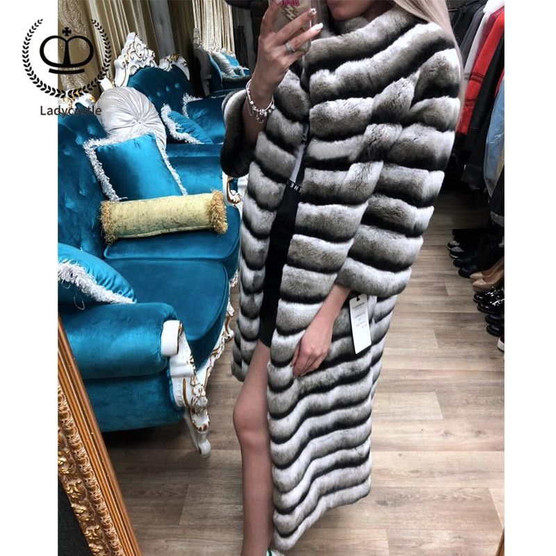 2018 Skin Real Chinchilla Rex Rabbit Fur Coat From Natural Full Length Women Down Jacket Rabbit Genuine Winter Overcoat RB-037