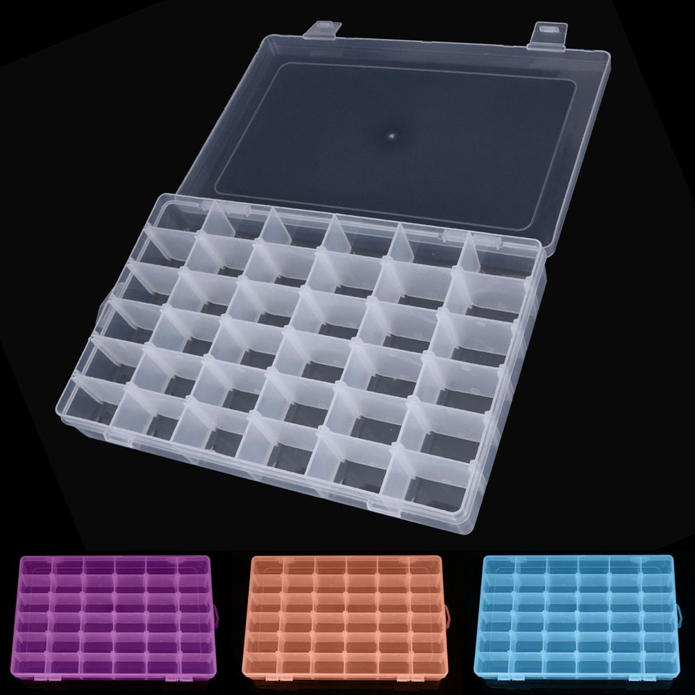 Rectangle Plastic Organizer 36 Compartment Storage Box Adjustable Bead Container Rings Jewelry Case Home Organizer