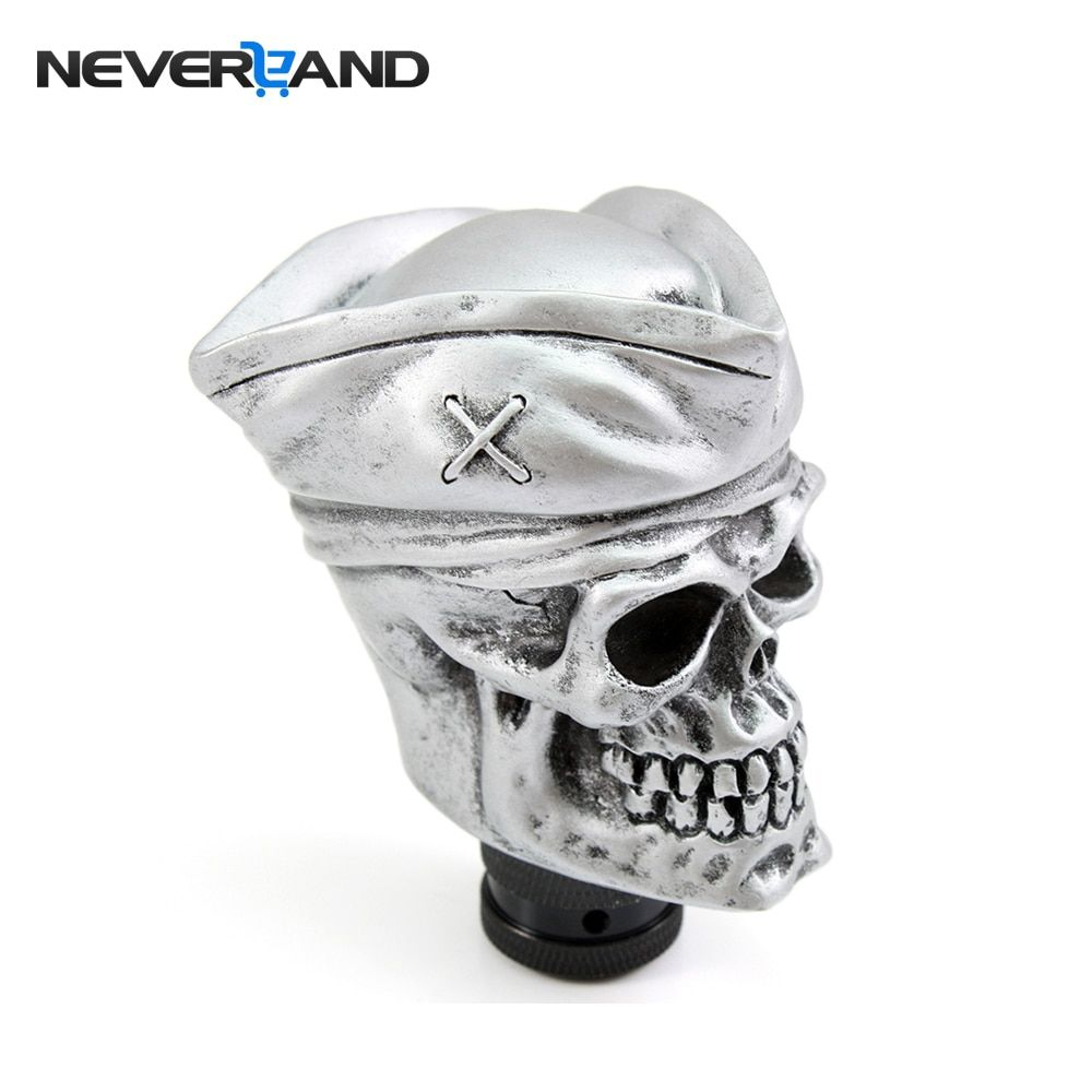 NEVERLAND Universal Car Manual Gear Shift Knob Shifter Lever Carved Pirates Skull Hat Silver