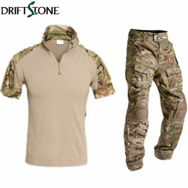 Multicam Military Uniform Tarnung Anzug Männer Armee Kurze Combat Shirt + Cargo Pants Paintball Tactical Kleidung Set