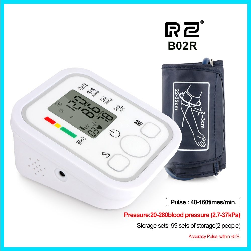 Home use Health Care Digital Upper Fully Automatic Electronics Arm Style Blood Pressure Monitor Pulse Rate B02R