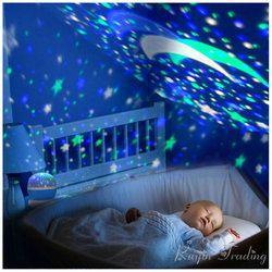 LED giratoria proyector ligero giro estrellada Luna cielo estrella maestro niños del cuarto de niños del bebé sueño romántico USB Abajur