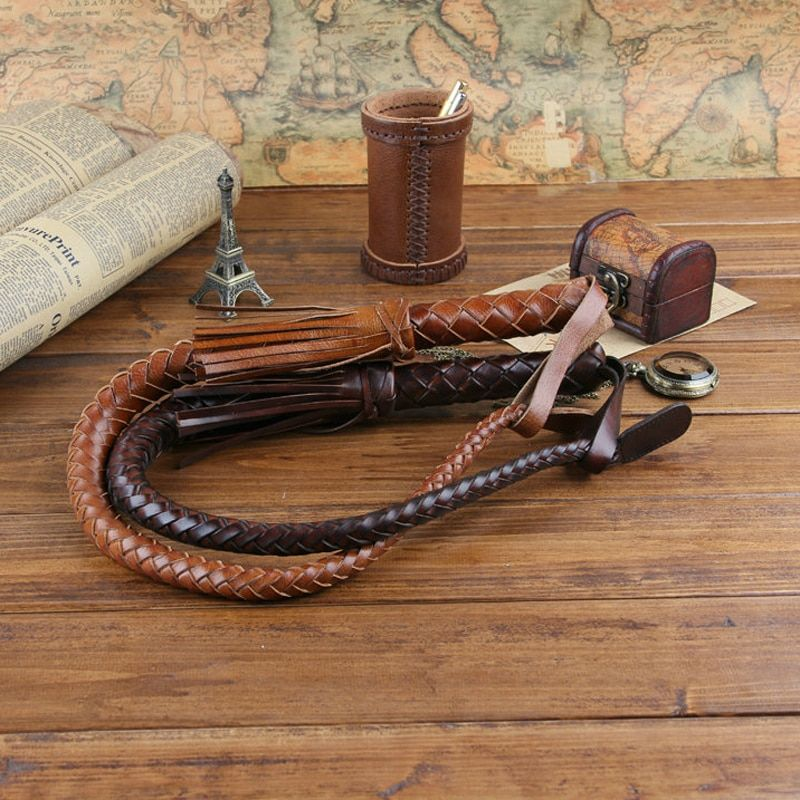 85CM Hand Made Braided Riding Whips for Horse Racing Outer 100% Genuine Bull Leather Equestrian Horse Whip Riding Crop